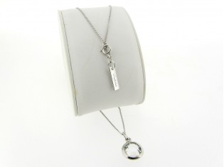 Zilveren dunne gourmet ketting met heldere roos geslepen kristal