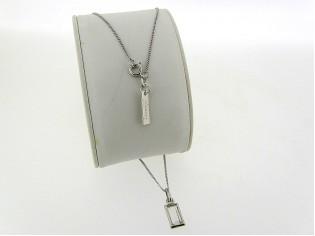 """Zilveren ketting met helder """"Markies"""" geslepen Swarovski kristallen 12 bij 7mm."""