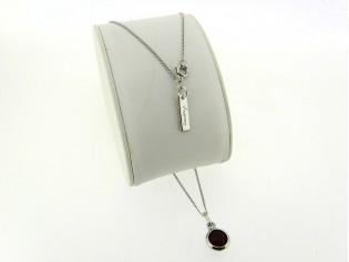 Zilveren dunne gourmet ketting met robijn roos geslepen kristal