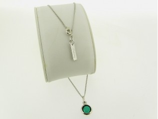 Zilveren dunne gourmet ketting met smaragd roos geslepen kristal