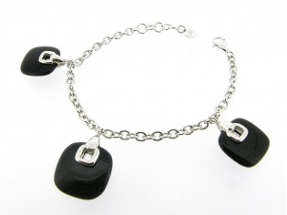 Zilveren Jasseron armband met onyx charms