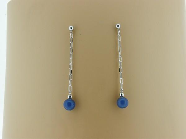 Lange oorhanger met blauwe agaat edelsteentjes