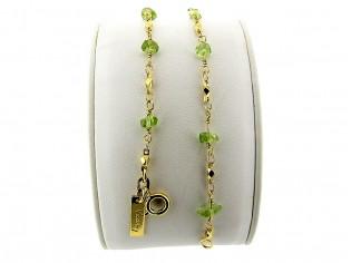 Gouden armbandje met fantasie schakeltjes en Peridoot Olivijn split edelsteentjes