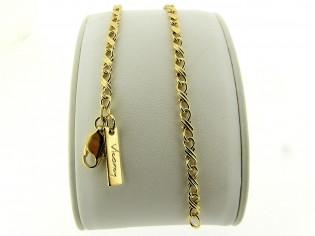 Gouden armbandje met fantasie dubbele konings schakeltjes