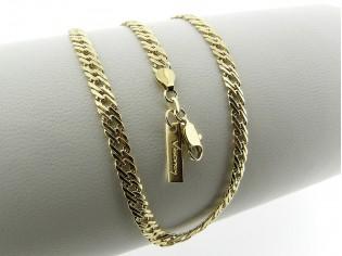 Gouden halsketting met gevlochten schakeltjes