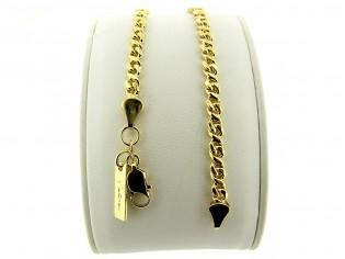 Gouden armbandje met fantasie gourmet schakeltjes en afgerond geslepen schakel