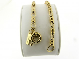 Gouden armband met fantasie mode schakel en grote veersluiting