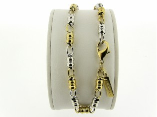 Gouden Bicolor enkelbandje met trendy mode schakel