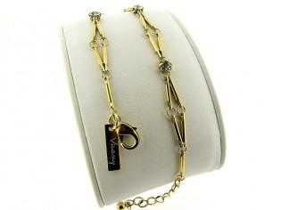 Gouden armbandje met fantasie modieuze schakeltjes en zirkonium steentjes
