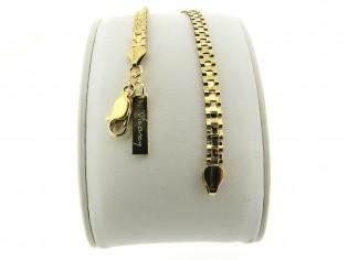 Gouden armbandje met platte gourmet gesloten schakeltjes