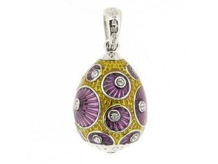 Zilveren Hermitage Sint-Petersburg ei met purple en goud emaille met ingelegde kristallen