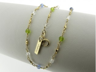 Gouden halsketting met rond gefacetteerde gekleurde swarovski kristallen