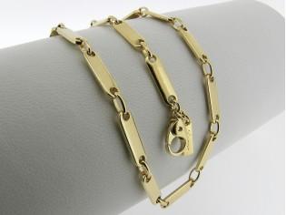 Gouden halsketting sportief plaatjes schakel collier