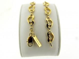Gouden armband met geschakelde hartjes ketting