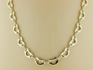 Gouden halsketting hartjes schakel collier