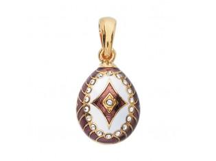 Zilveren hangertje Hermitage Sint Petersburg pendant eitje met 18kt gouden toplaag purple wit emaille en ingelegde kristallen