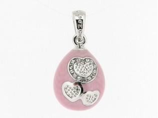 Zilveren hangertje rosé emaille met hartjes en kristallen