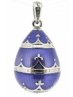 Zilveren Hermitage Sint-Petersburg ei met blauw emaille en Tsaren kroon