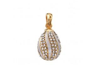 Zilveren hangertje Hermitage Sint Petersburg pendant eitje met 18kt gouden toplaag helder wit emaille en ingelegde kristallen