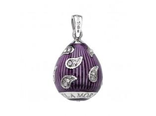 Zilveren hangertje Hermitage Sint Petersburg pendant eitje purple emaille en ingelegde kristallen