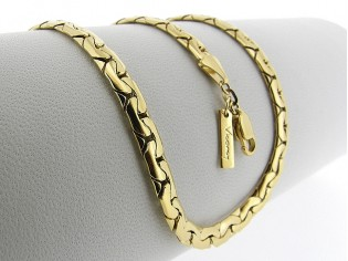 Gouden halsketting Luna gevlochten slangen schakel collier