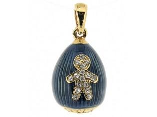 Zilveren Hermitage Sint-Petersburg ei met kristallen figuurtje en 18kt gouden toplaag