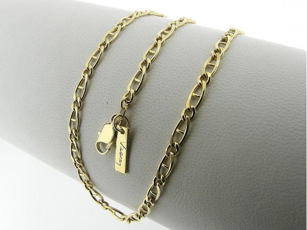 Gouden halsketting platte fantasie figaro collier met vakjes geslepen schakel