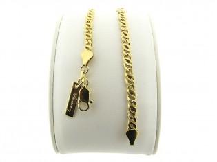 Gouden armbandje met platte fantasie gourmet dubbel geslepen schakeltjes