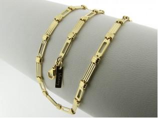 Gouden halsketting streepjesschakel ketting