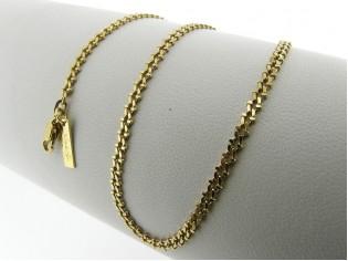Gouden halsketting gourmet fantasie collier met diamant geslepen schakel