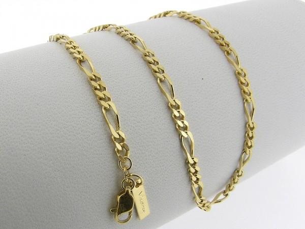 Gouden halsketting figaro collier beiden zijden diamant geslepen