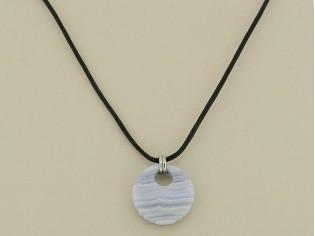 Makuti edelstaal collier met diamant en Chalcedoon edelsteen