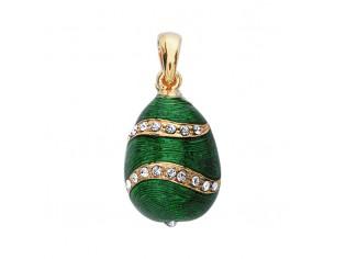 Zilveren hangertje Hermitage Sint Petersburg pendant eitje met 18kt gouden toplaag groen gevlamd emaille en ingelegde kristallen