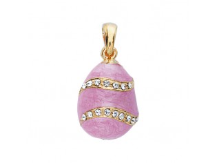 Zilveren hangertje Hermitage Sint Petersburg pendant eitje met 18kt gouden toplaag roze emaille en ingelegde kristallen