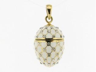 Zilveren hangertje Hermitage Sint Petersburg pendant eitje met 18kt gouden toplaag wit emaille met ingelegde kristallen