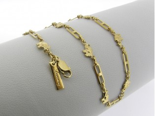 Gouden halsketting fantasie schakel olifantjes ketting