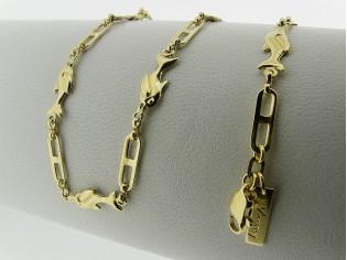 Gouden halsketting fantasie schakel dolfijntjes ketting