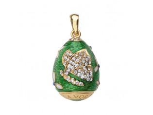 Zilveren hangertje Hermitage Sint Petersburg pendant eitje met 18kt gouden toplaag groen emaille