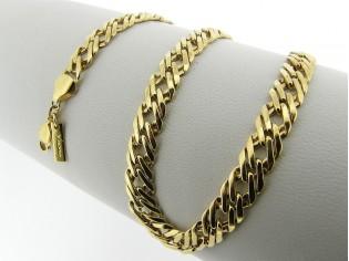 Gouden halsketting gevlochten schakel collierdiamant geslepen