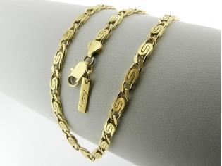 Gouden halsketting platte koning schakel collier