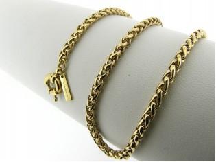 Gouden halsketting gevochten cocktail Jasseron collier met grote veersluiting