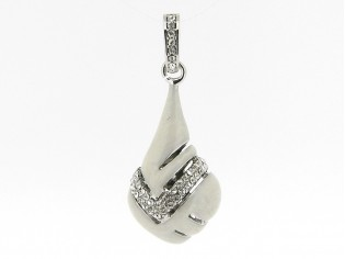 Zilveren hangertje sierlijk flesje met wit gemarmeleerd emaille en kristallen ingelegd