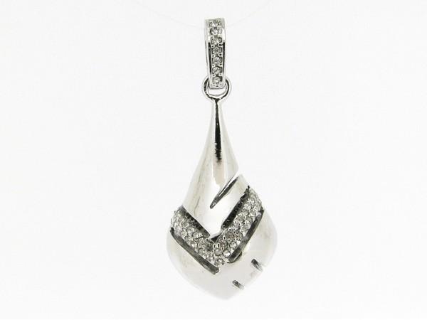 Zilveren hangertje sierlijk flesje met kristallen ingelegd