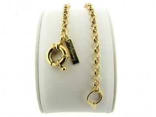 Gouden armbandje met jasseron schakel en elegante grote veersluiting
