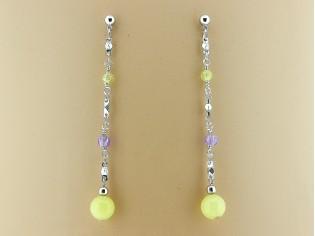Lange oorhanger met gele jade edelstenen en kristallen
