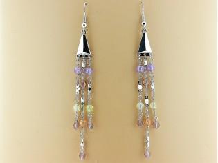 Lange oorhanger met gekleurde Swarovski kristallen