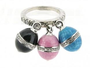 Zilveren Clamori ring met mini eitjes en ingelegde Swarovski kristallen