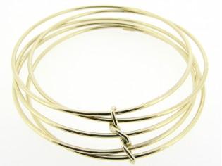 Zilveren rinkel armband met5 ringen 18karaat goud verguld