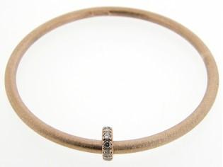 Zilveren rinkel armband met Swarovski rondel 18karaat Rosé goud verguld