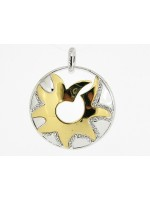 Gouden medaillon met ingelegde kristallen Clamori zon hangertje